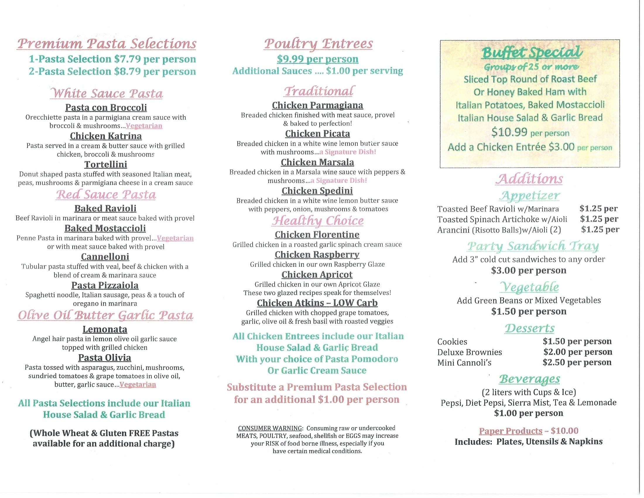 Candicci's Restaurant Catering Menu