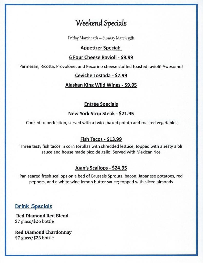 Weekend Specials at Candicci's Restaurant and Bar