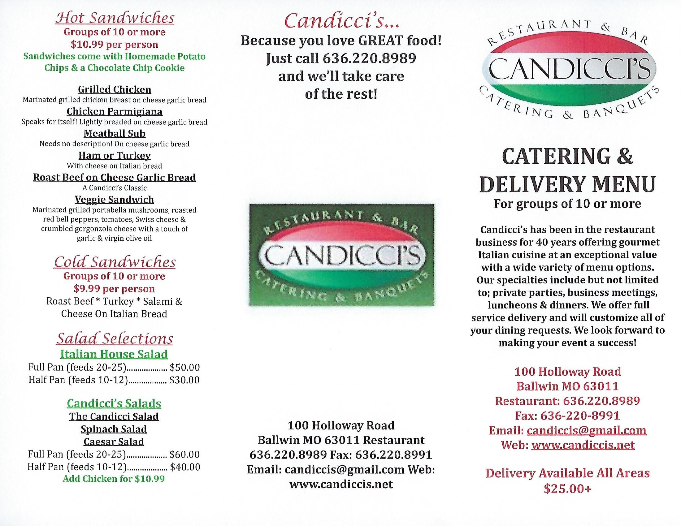 Candicci's Restaurant and Bar Catering Menu