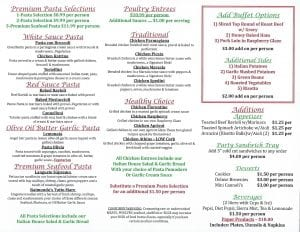 Candicci's Restaurant and Bar Catering Menu