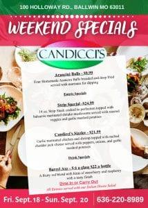 Candicci's Restaurant Weekend Specials