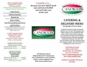 Candicci's Menu